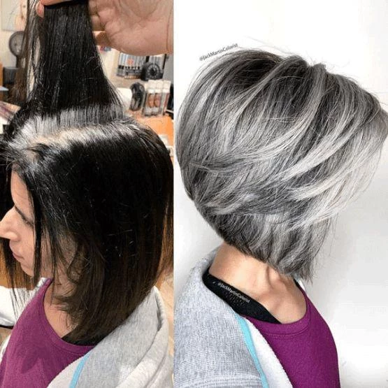 Short Curly Gray Wigs With Reasonable Price Aeshaper Your Secret To A Perfet Fit Blending Gray Hair Gray Hair Highlights Grey Hair Transformation