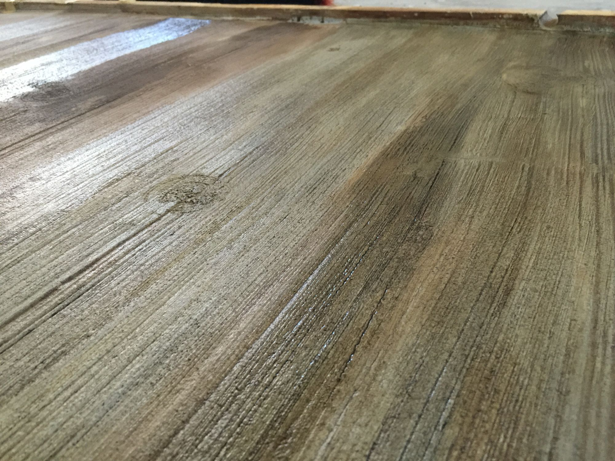 Stained Concrete Floors That Look Like Barn Wood To Get The Color You Must Stain Over A Micro Topping I Used Mixture Of Three Parts Water One Part