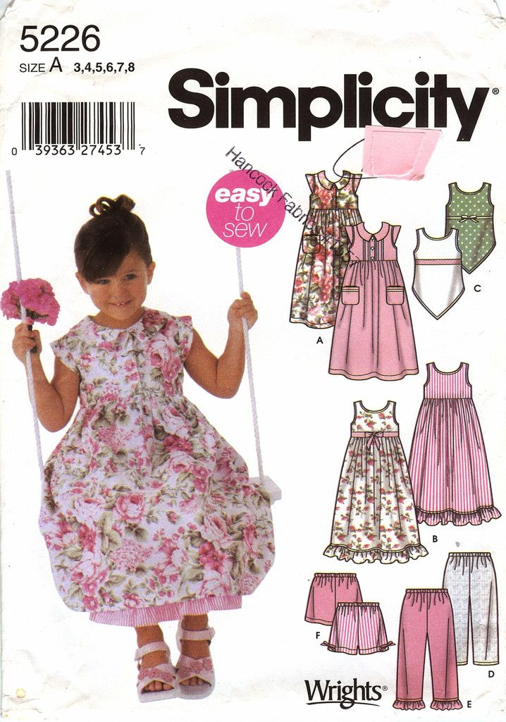 Simplicity 5226 Child's Dress, Slip Dress, Top, Pants, and Shorts