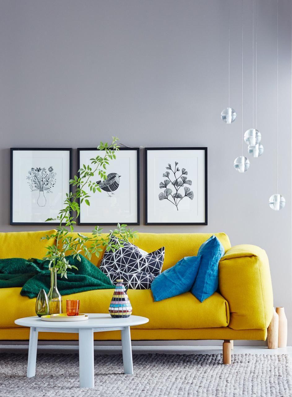Wohnideen mit Farben  Einrichten und dekorieren mit Gelb Blau und Rot  modern  Yellow