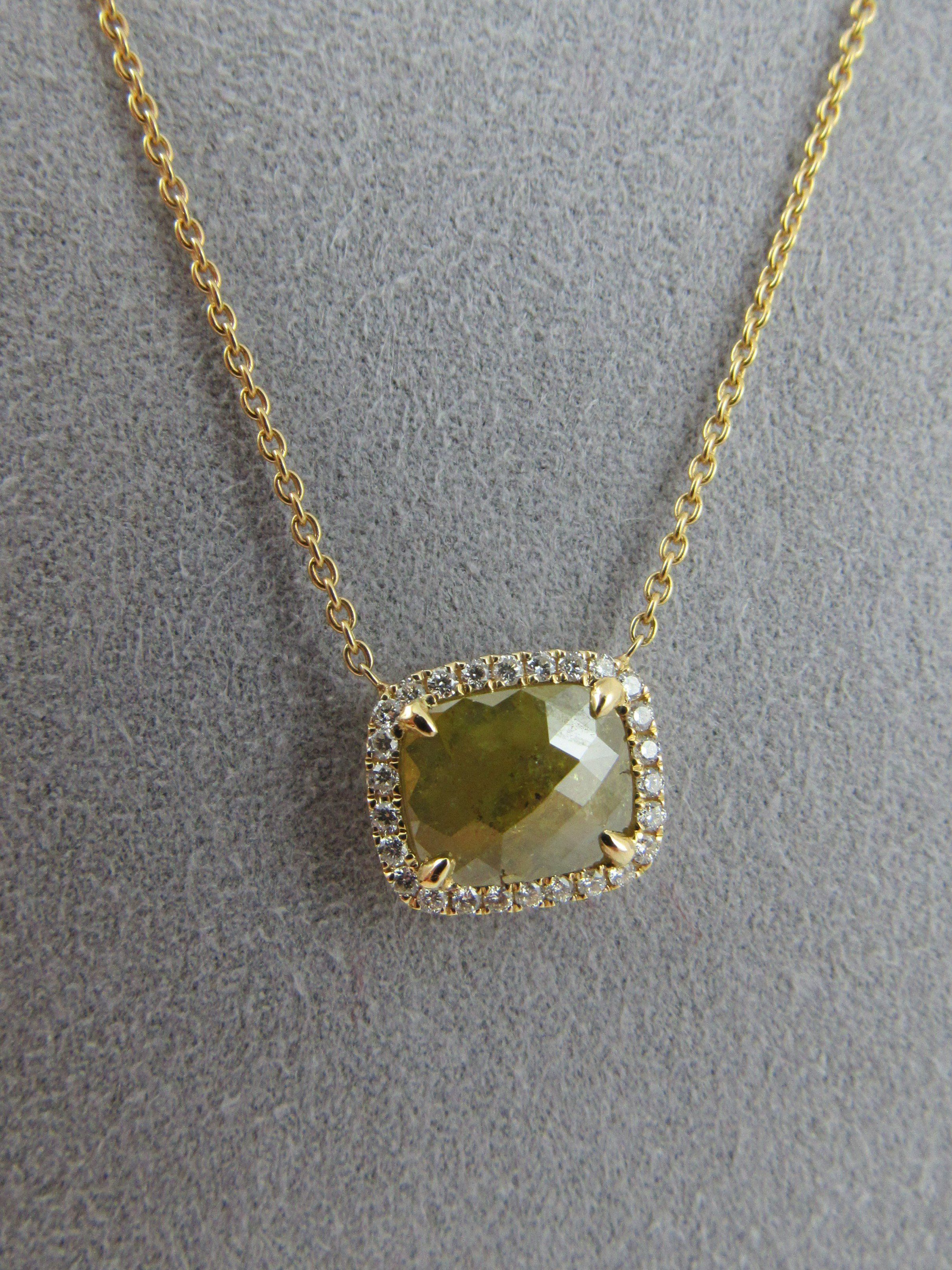 K fancy yellow diamond halo set necklace rough diamond halo
