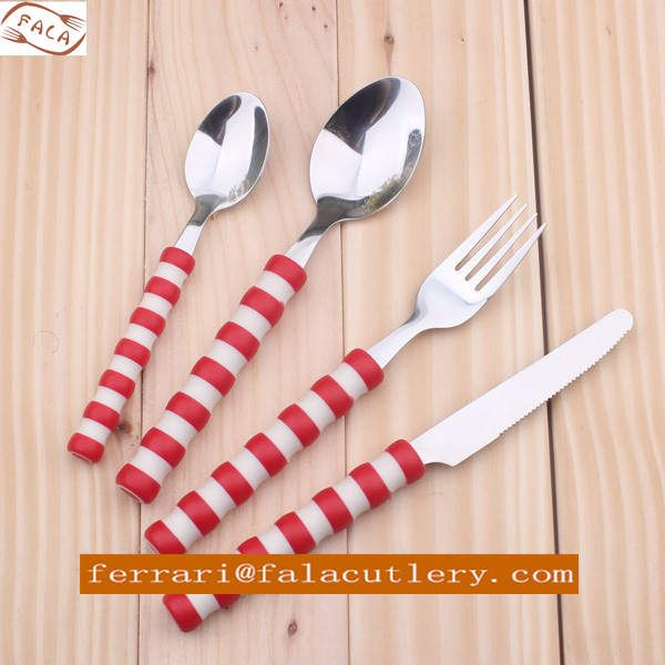 Promotional Colorful Plastic Handle Stainless Steel Cutlery