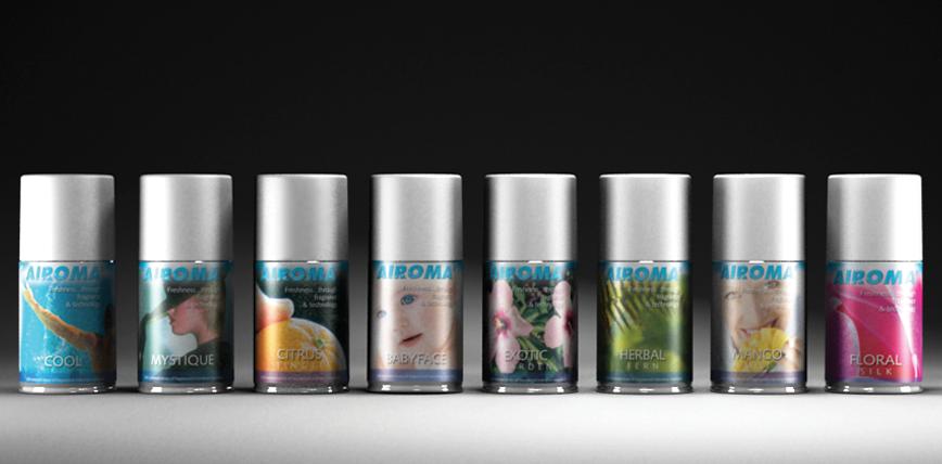 Airoma Automatic Odour Control Dispenser Fragrance Voss Bottle