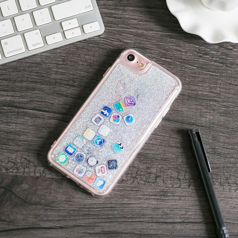 Funny App Dynamic Quicksand Glitter Liquid Case Cover For Iphone X 6s 7 8plus Iphone Transparent Case Glitter Case Iphone Cases Cute
