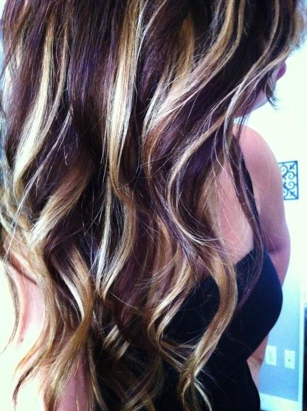 Blonde And Dark Lowlights Steph Hair Hair Styles Purple Hair