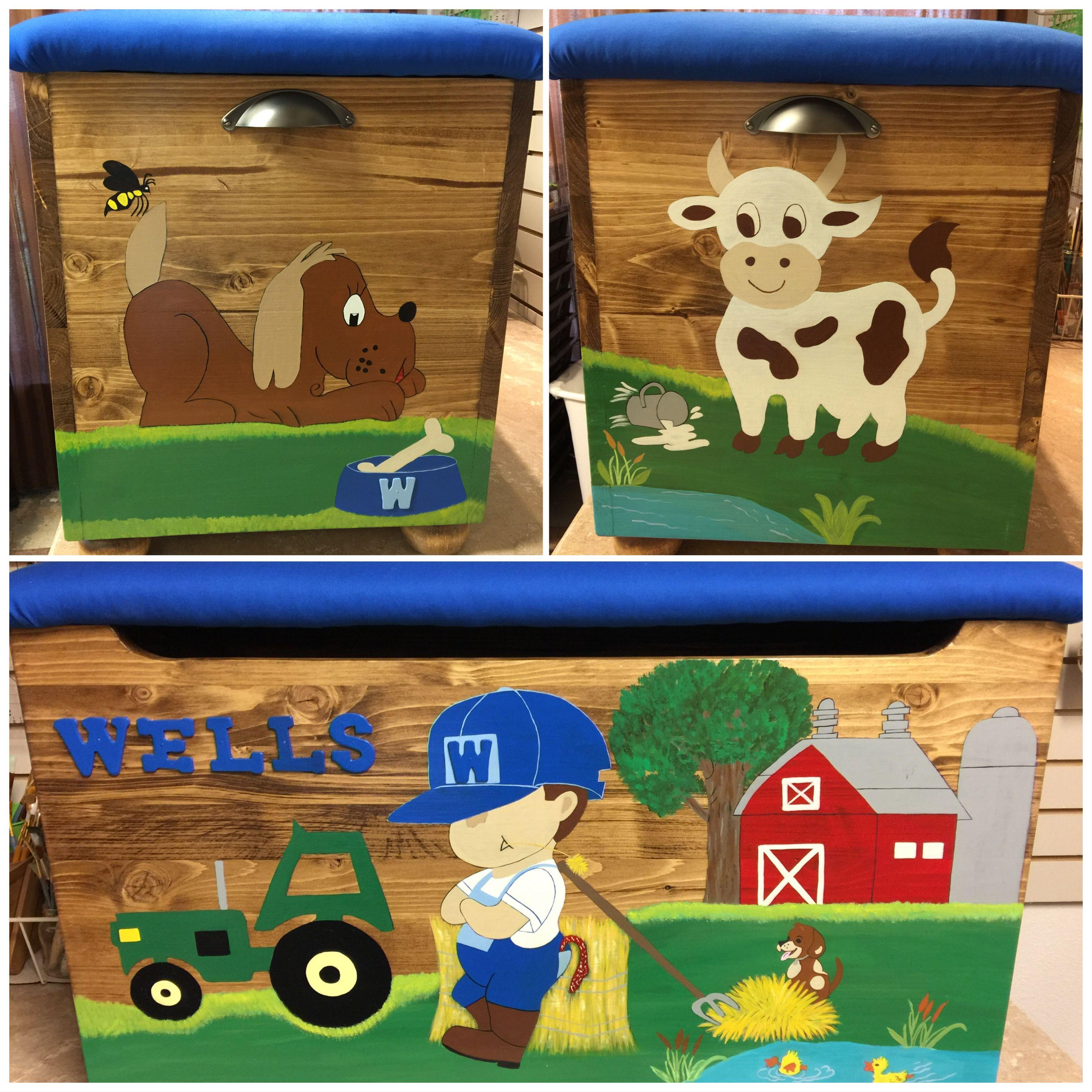 Farm boy toy box made especially for wells boys toy box