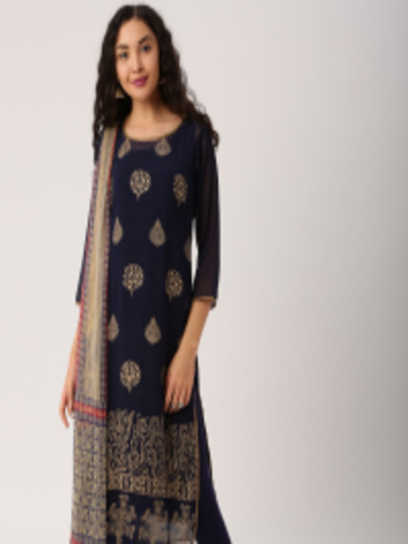 c4cb04ee50f Buy IMARA By Women Navy Printed Churidar Kurta With Dupatta - Kurta Sets  for Women 2018331