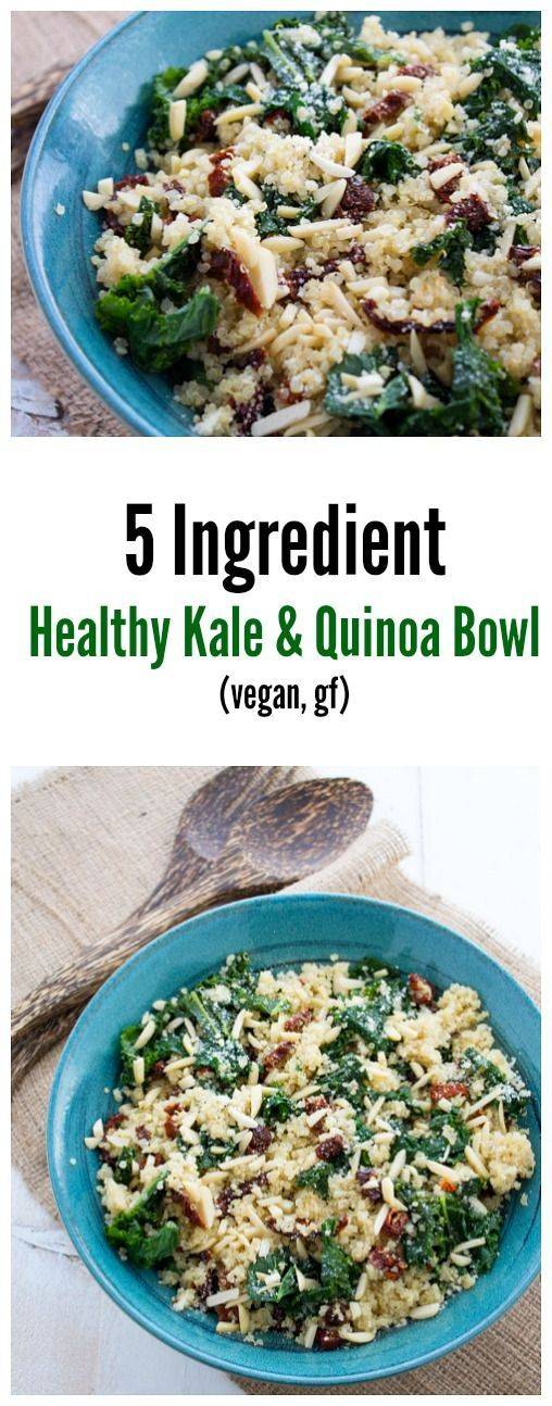 Ingredient Healthy Kale and Quinoa Bowl A healthy kale and quinoa bowl that uses only five ingredients and takes less than 25 minutes to make.A healthy kale and quinoa bowl that uses only five ingredients and takes less than 25 minutes to make.