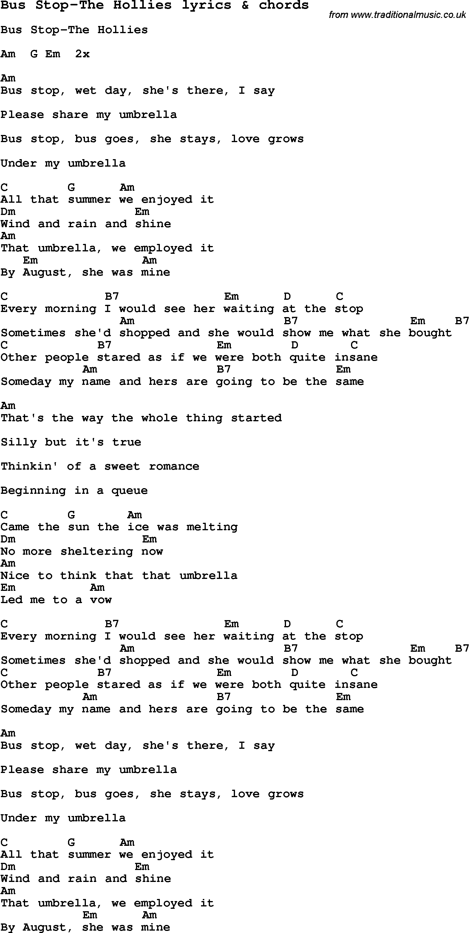 Love Song Lyrics For Bus Stop The Hollies With Chords For Ukulele