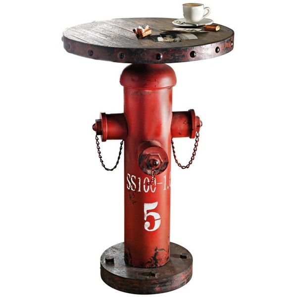 Hydrant Side Table Industrial Style Shabby Chic Metal Red Brown ($290) ❤ liked on Polyvore featuring home, furniture, tables, accent tables, metal table, metal occasional tables, top table, metal furniture and metal top table