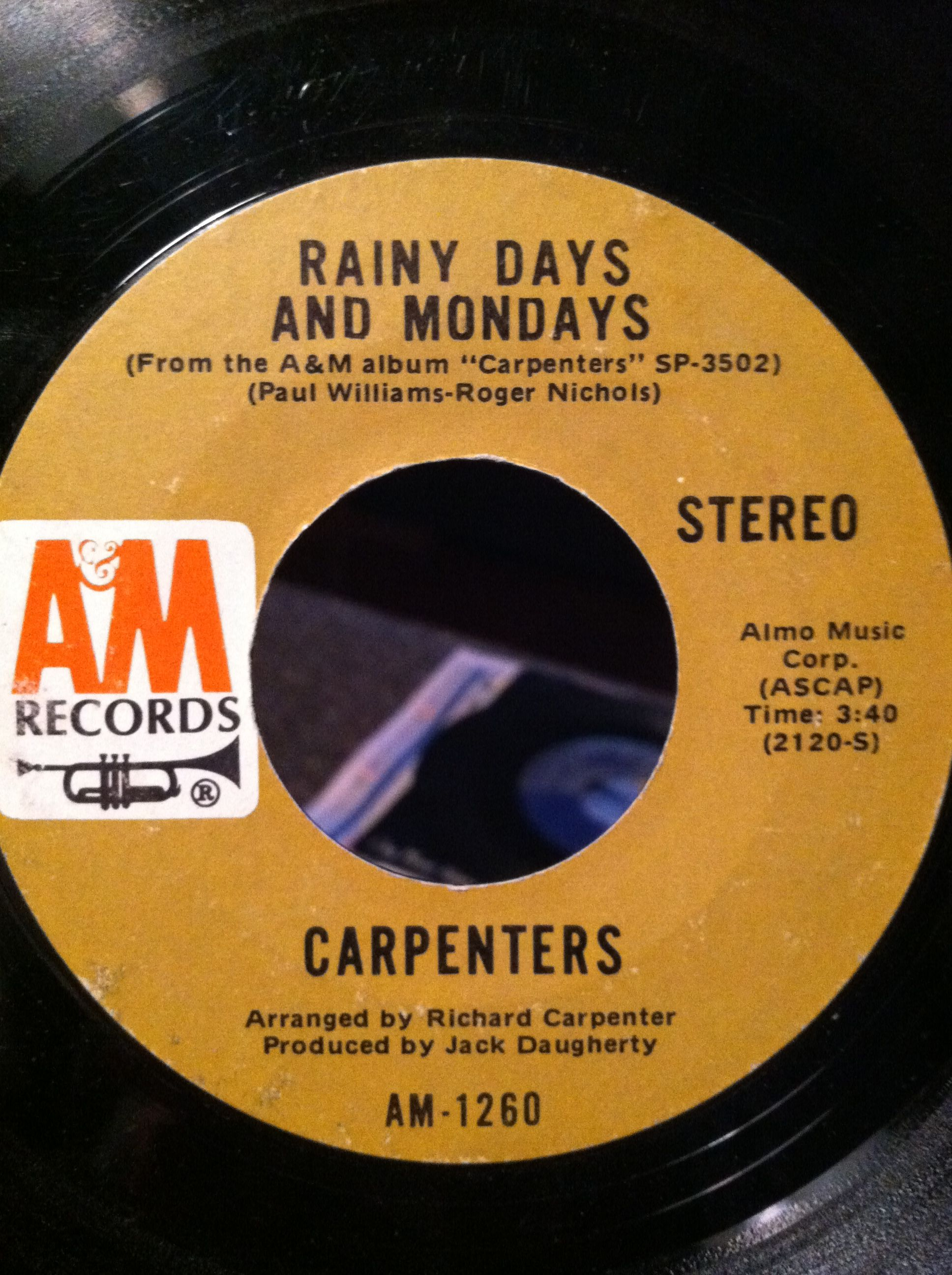Carpenters On A Early 70 S Vinyl Records Songs Record Label