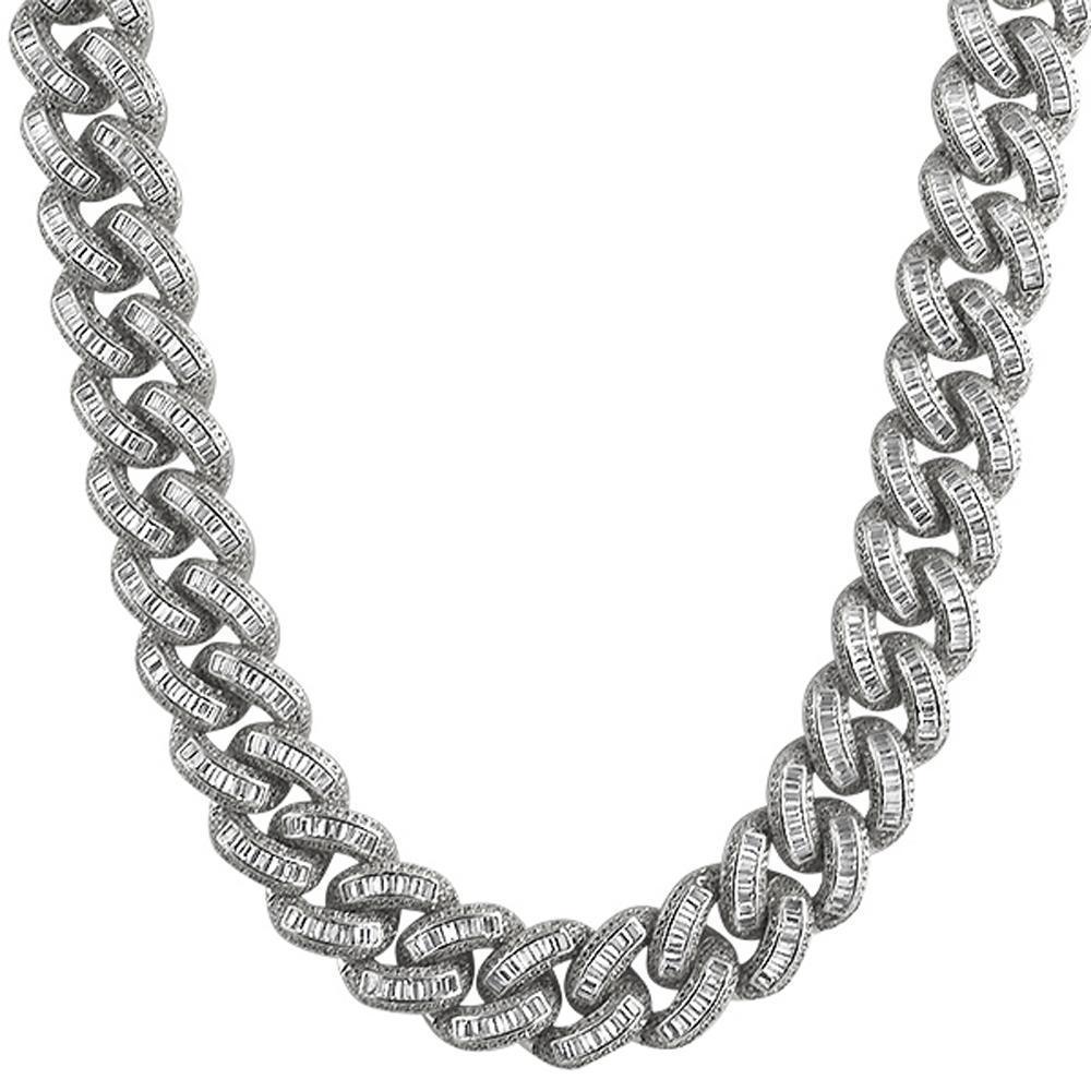 00f9795f727d3 925 Sterling Silver Baguette CZ 17MM Cuban Chain Rhodium. .925 ...