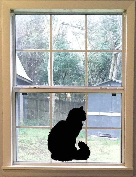 Large Fluffy Cat Wall Decal Black Cat Silhouette Vinyl Decal Cat - Vinyl decal cat pinterest