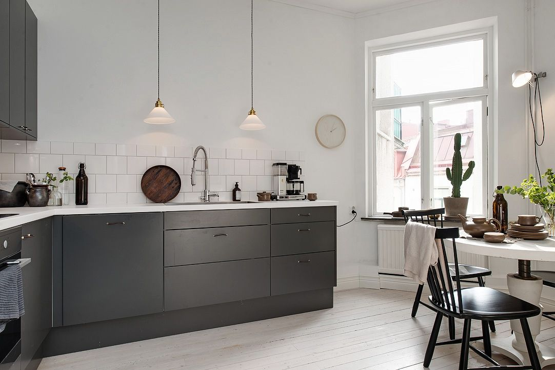 Industrial Space White And Charcoal Gray Google Search Kitchen Decor Modern Grey Kitchens Kitchen Remodel