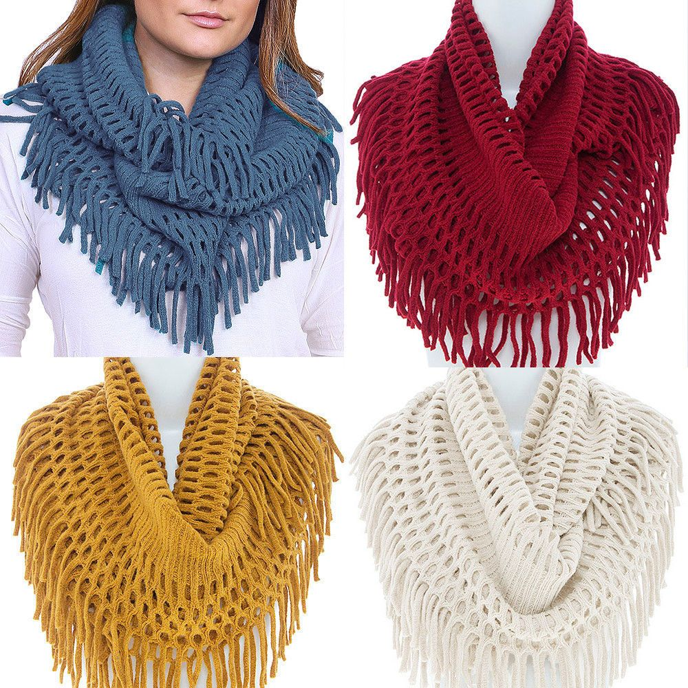 Women's Warm Winter Ruffle Long Scarf Knit Shawl Neck Wrap