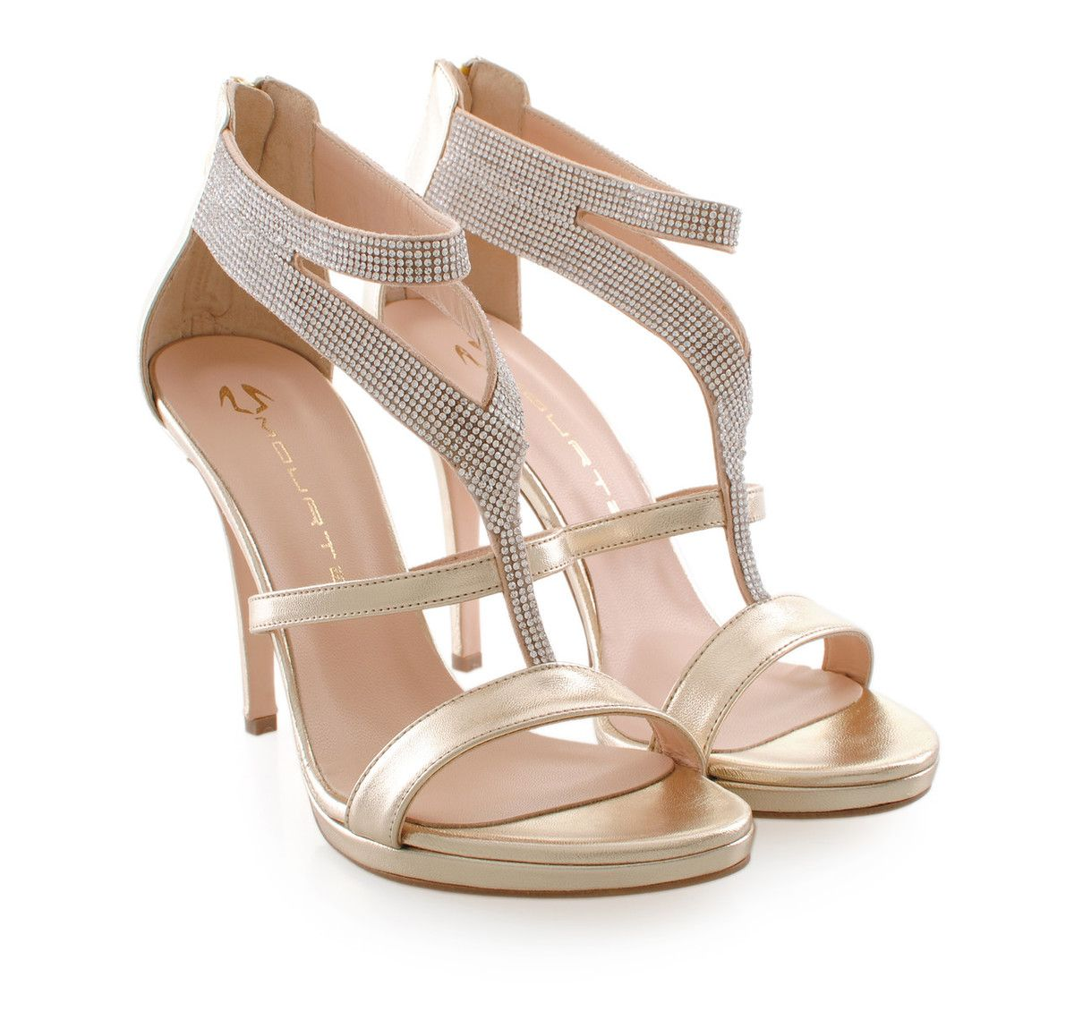 MOURTZI Gold Leather High-Heel Sandals. Γυναικεία χρυσά δερμάτινα  ψηλοτάκουνα πέδιλα.
