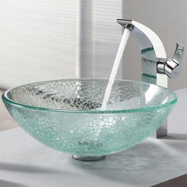 günstig Modern Waschbecken Bunt Rund Glas Aufsatz Waschschale mit ... | {Waschbecken rund glas 89}