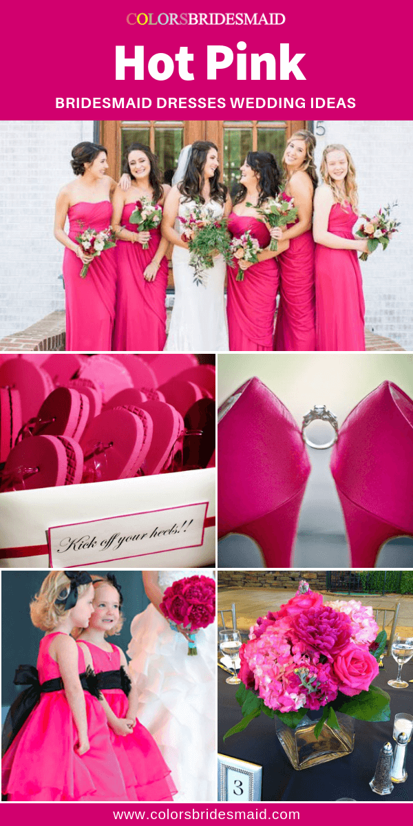 Pink Bridesmaid Dresses Hot Pink Color In 2020 Pink Bridesmaid
