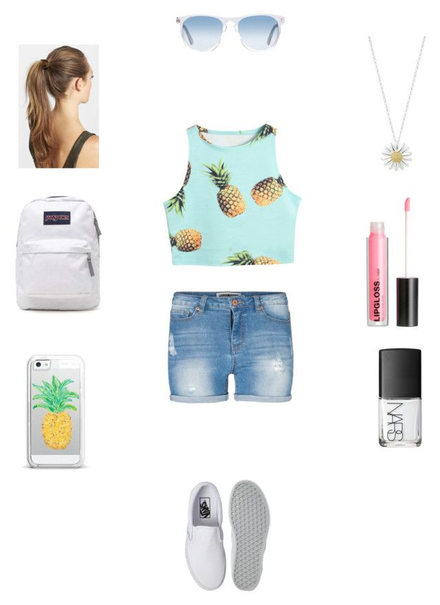 """""""Last day of shcool"""" by jordan098 ❤ liked on Polyvore featuring Lipsy, Vans, Daisy Jewellery, France Luxe, JanSport, Casetify, H&M, NARS Cosmetics and Oliver Peoples"""
