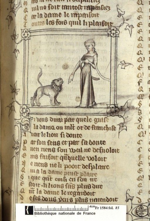 Français 1584, fol. 85, Dame du verger consolant le lion