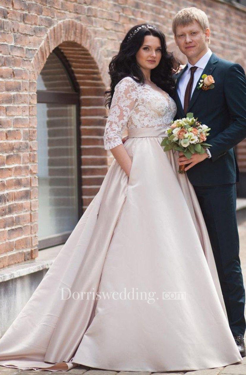 V-Neck Illusion Long Sleeve A-Line Satin Appliqued Plus Size Wedding Dress fa765129af55