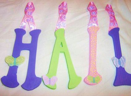 Hailey close up green purple pink butterfly girl nursery decor wall letters handpainted baby shower gift birthday
