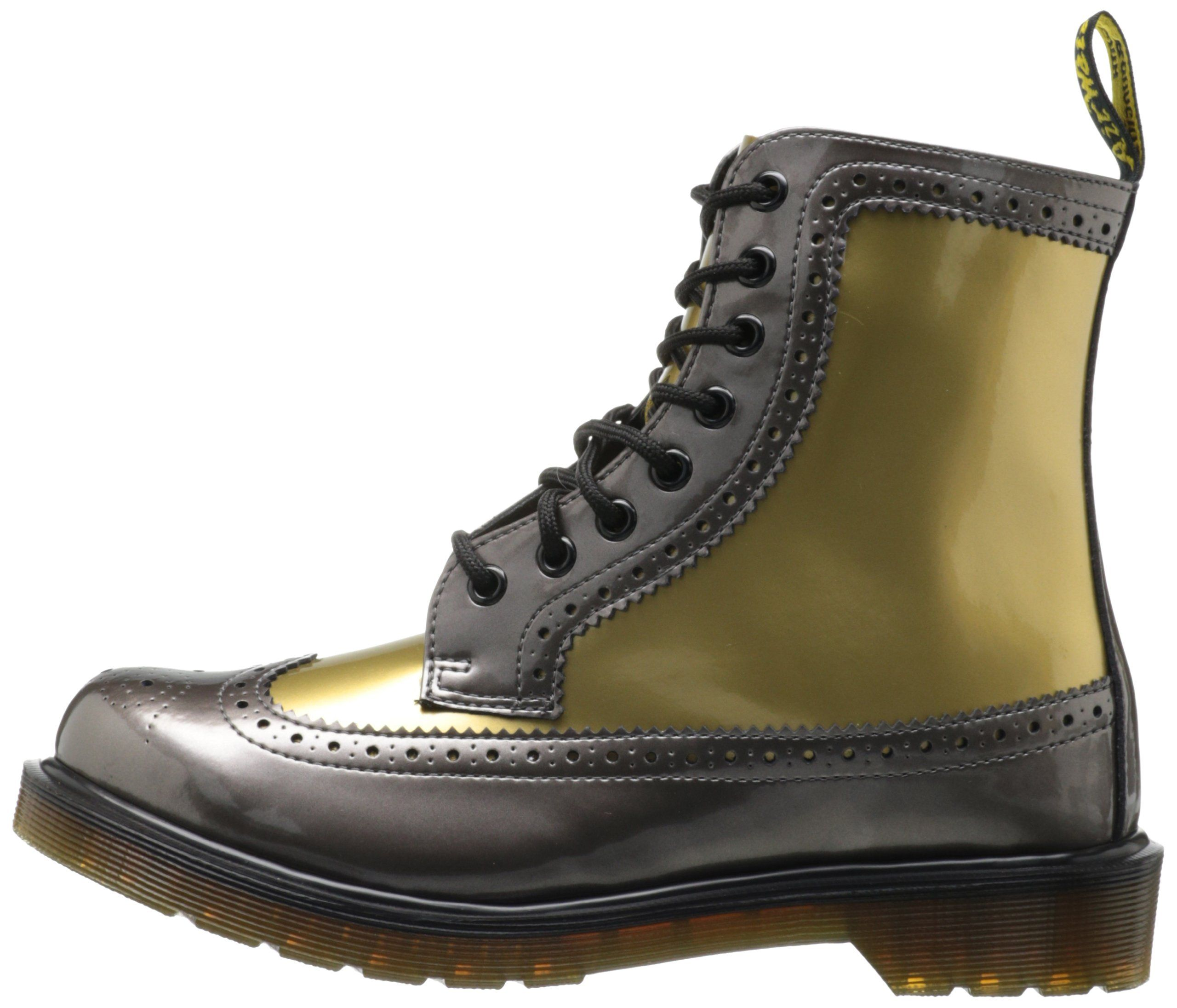 Dr martens harrie brogue boot pewter gold spectra patent +
