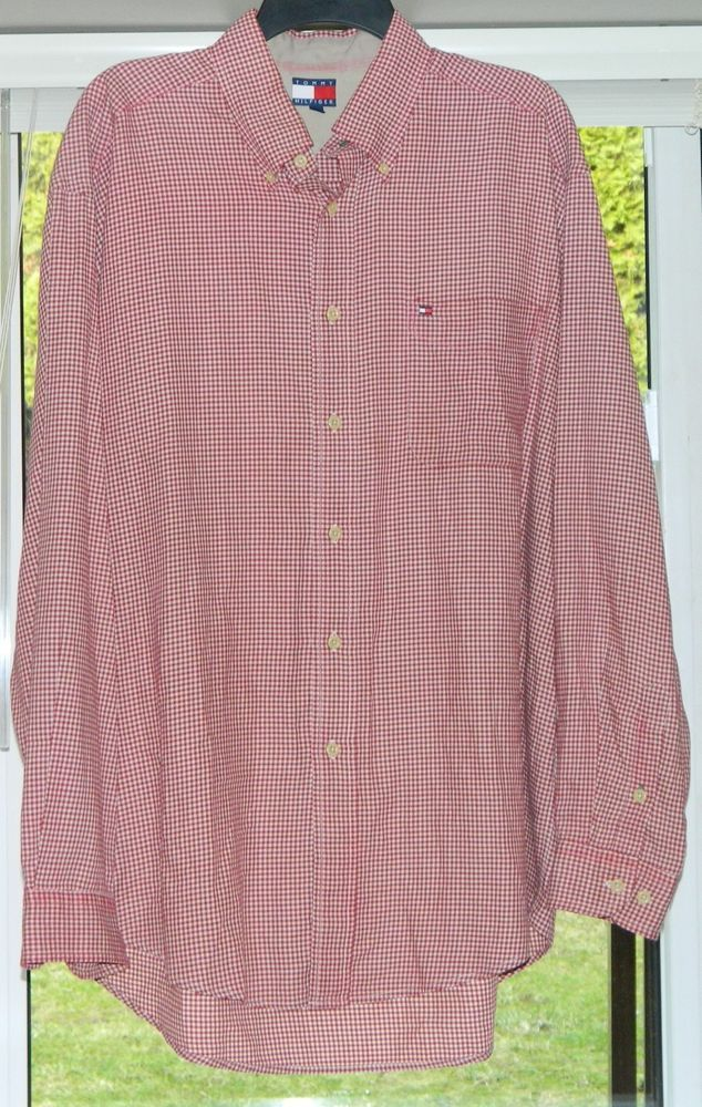 3dbe7c4ce Vintage Tommy Hilfiger Dress Shirt - Red & White Check Pattern Shirt Size  Large #TommyHilfiger