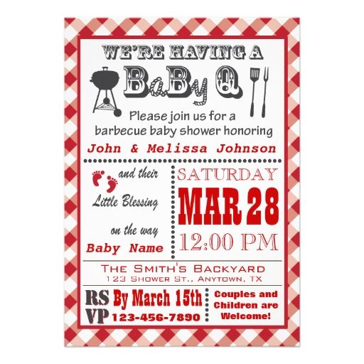 Red Barbecue BaByQ Baby Shower Custom Invites