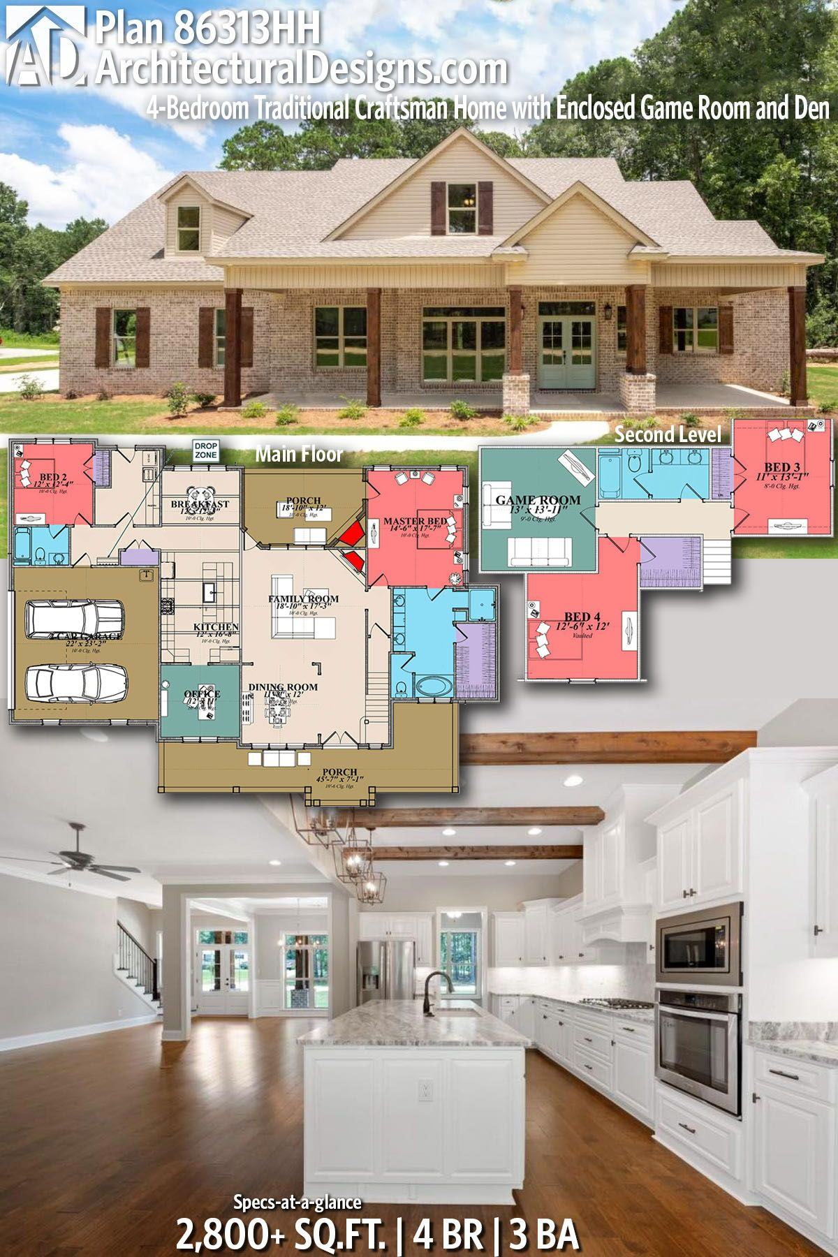 Architectural designs craftsman home plan hh gives you bedrooms baths and also house jw one level modern rh ar pinterest