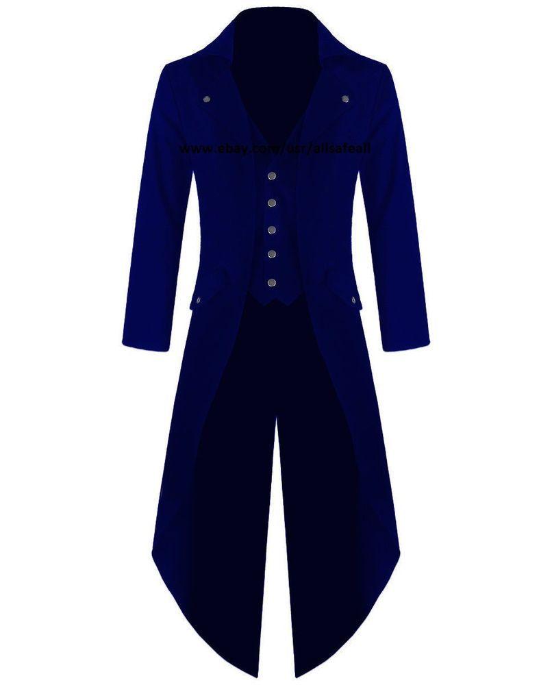 8b168387d5a7 Banned Men's Steampunk Tailcoat Jacket BLUE Velvet Gothic Victorian Coat  VTG #AllSafe #VictorianGothic