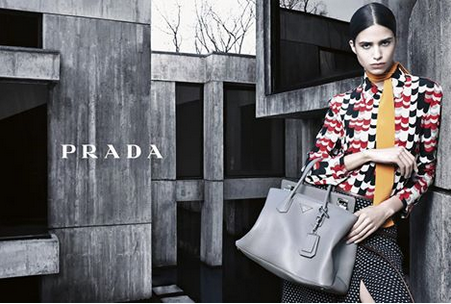Prada Fall/Winter 2014 Women's Advertising Campaign. Photo by Steven Meisel featuring Mica Arganaraz.