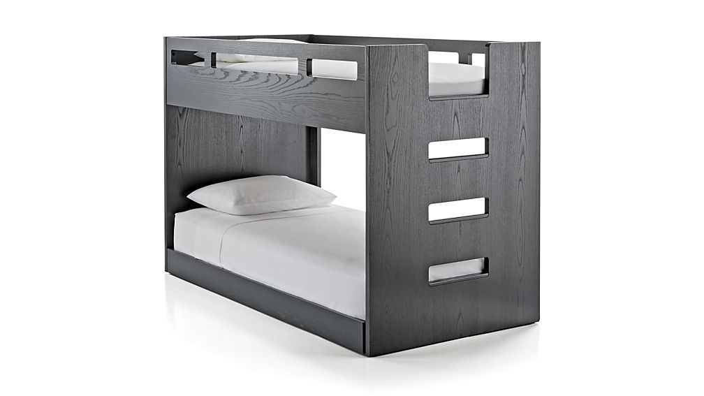 Abridged Charcoal Glaze Low Twin Bunk Bed With Right Ladder Bunk