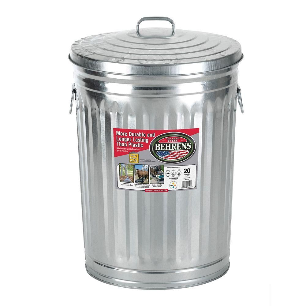 Behrens 20 Gal Galvanized Garbage Can Silver In 2021 Metal Trash Cans Trash Can Recycle Trash Metal trash can with lid