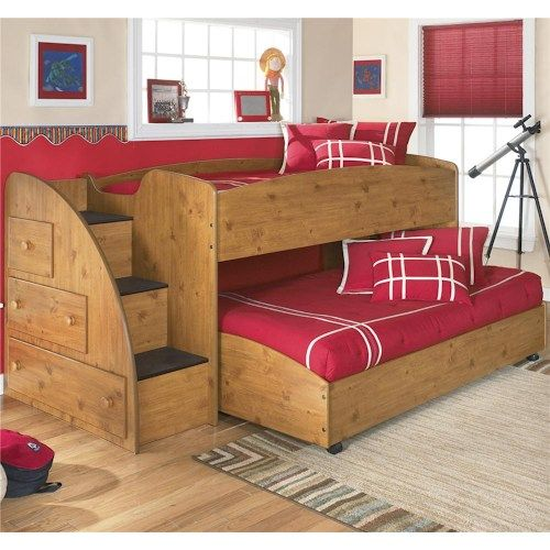 Signature Design by Ashley Furniture Stages Twin Loft Bed with Caster Bed and Left Storage Steps