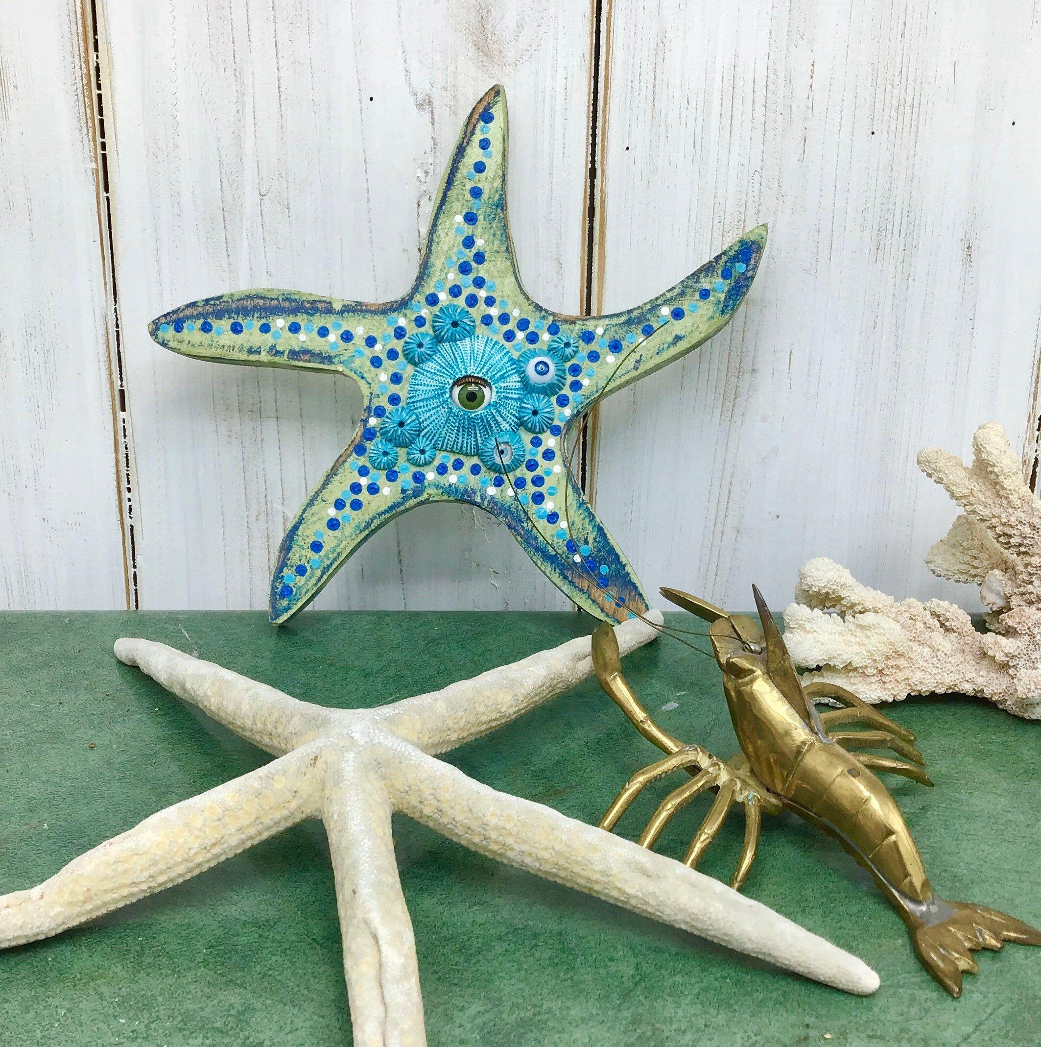 Small Starfish See Star Art Wooden Beach House Wall Decor With Etsy Beach House Wall Decor Star Art Starfish
