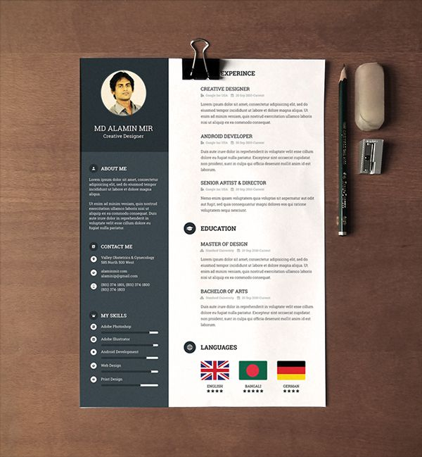 Free  Beautiful Resume Templates To Download  Template Behance