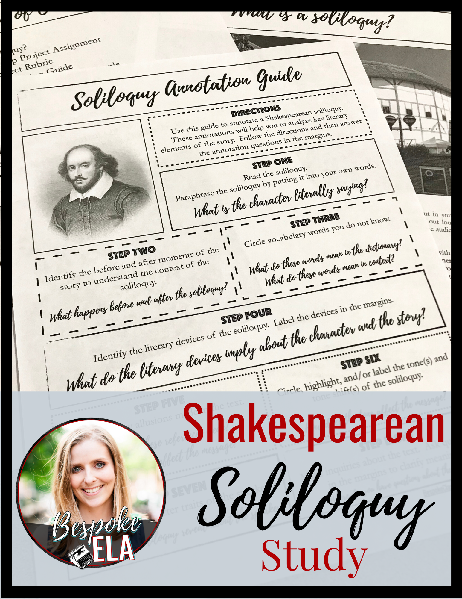 Shakespearean Soliloquy Study For Any Play Shakespeare Lesson Plan Teaching British Literature Close Reading Lessons Complete Paraphrase Of Much Ado About Nothing