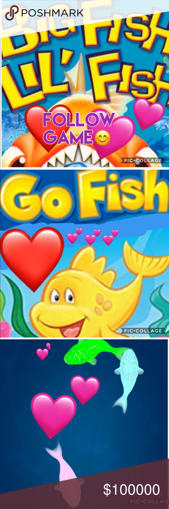 FOLLOW GAME Click LIKE2Follow Big Fish&Little Fish 🐳FOLLOW GAME TIME🐳 EVERYBODY CAN PLAY!!'                                                                                                 There are just so many Beautiful 🐠 Fish  (Pffs)here in Poshland!!  Some Little,Some Big...All Together WE are a Big Team of LOVE!!!❤️ Let's keep swimming strong together& making a BigFun SPLASH in all that we do! ⭐️All ya do is... Follow me.  Follow everybody that liked this listing.  Like this listing.  Tag