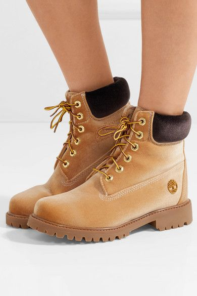 a8ec4bc53 Off-White - + Timberland logo-embossed velvet ankle boots in 2019 ...