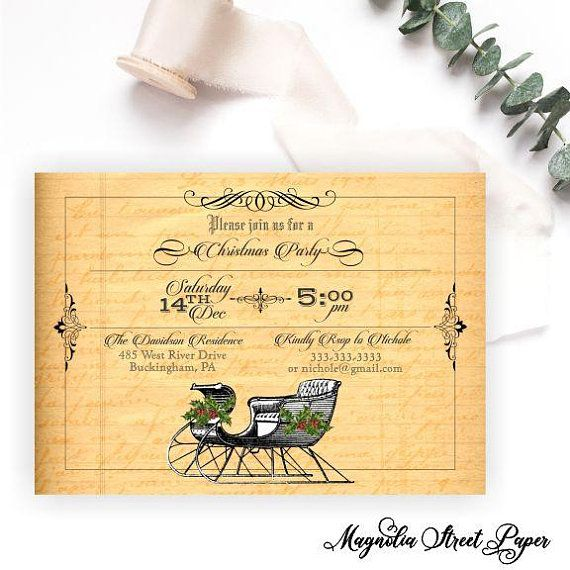 Vintage Sleigh Christmas Party Invitation Pinterest Party