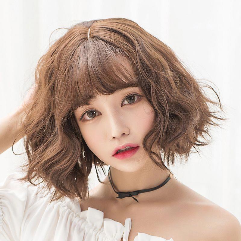 Wig Women Short Hair Fluffy Repair Face Realistic Natural Korean Air Bangs Short Curly Hair Bobo Head Korean Short Hair Short Hair With Bangs Curly Hair Styles