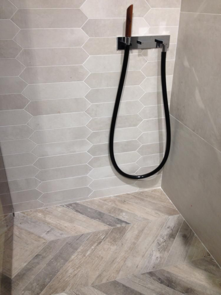 Chevron Wood Look Tile Shower Floor Wood Tile Shower Shower Tile Bathroom Redesign