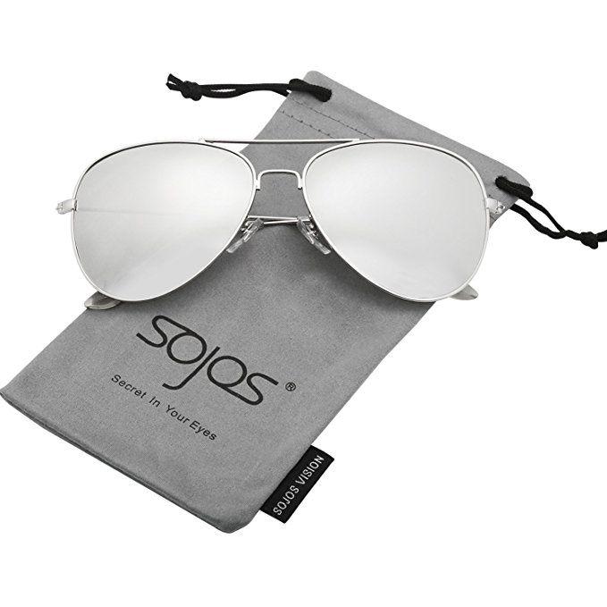 db080b071c SojoS Classic Aviator Polarized Sunglasses Mirrored UV400 Lens SJ1054 With  Silver Frame Silver Mirrored Lens   - - Amazon.com