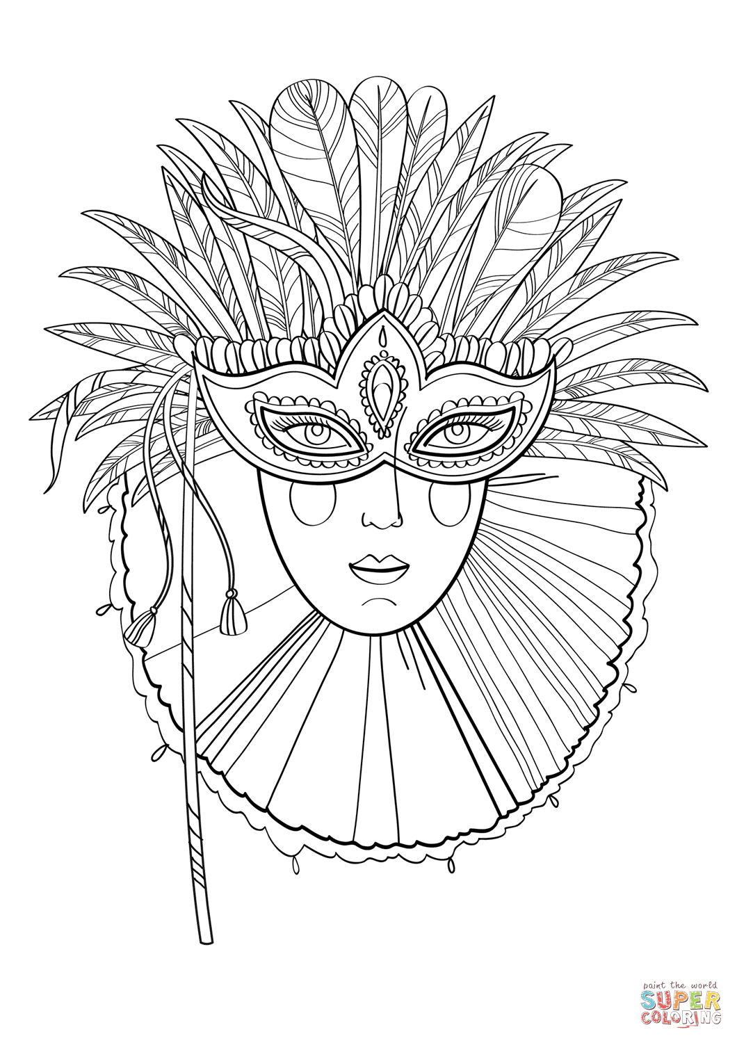 Beautiful Lady In Carnival Mask Super Coloring Coloring Pages Carnival Masks Mardi Gras Mask