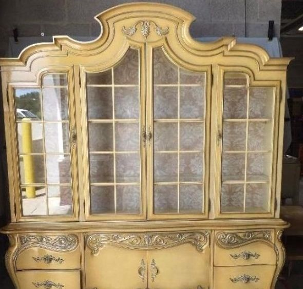VINTAGE Louis XV French DINING SET STUNNING TABLE, Cane CHAIRS U0026 CHINA  CABINET #FrenchCountryProvincial