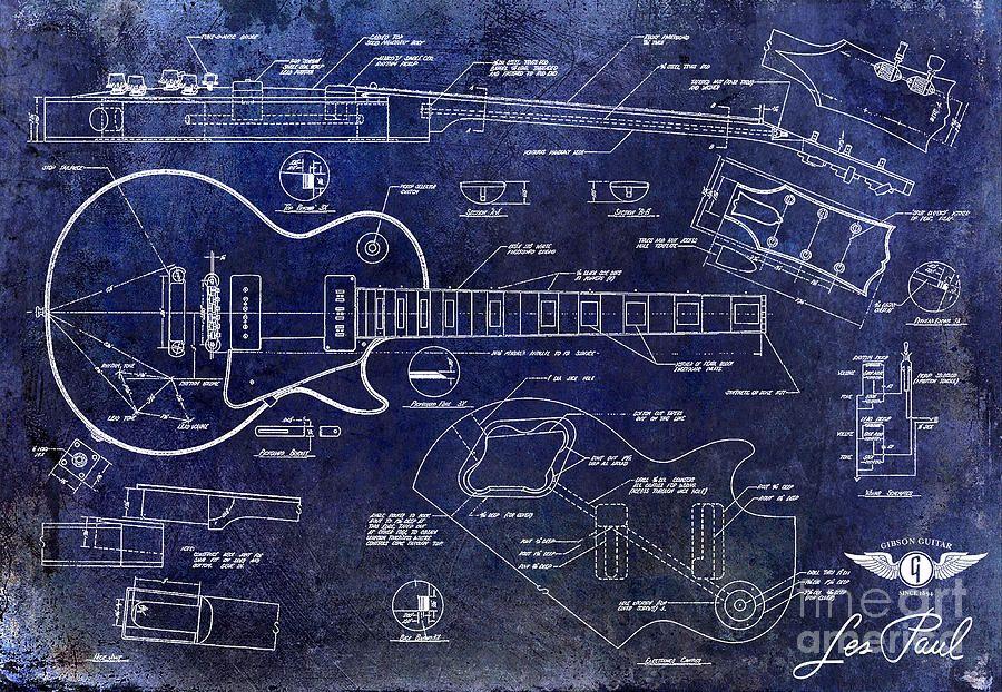 Gibson Les Paul Blueprint Drawing by Jon Neidert Music stuff - new blueprint program online