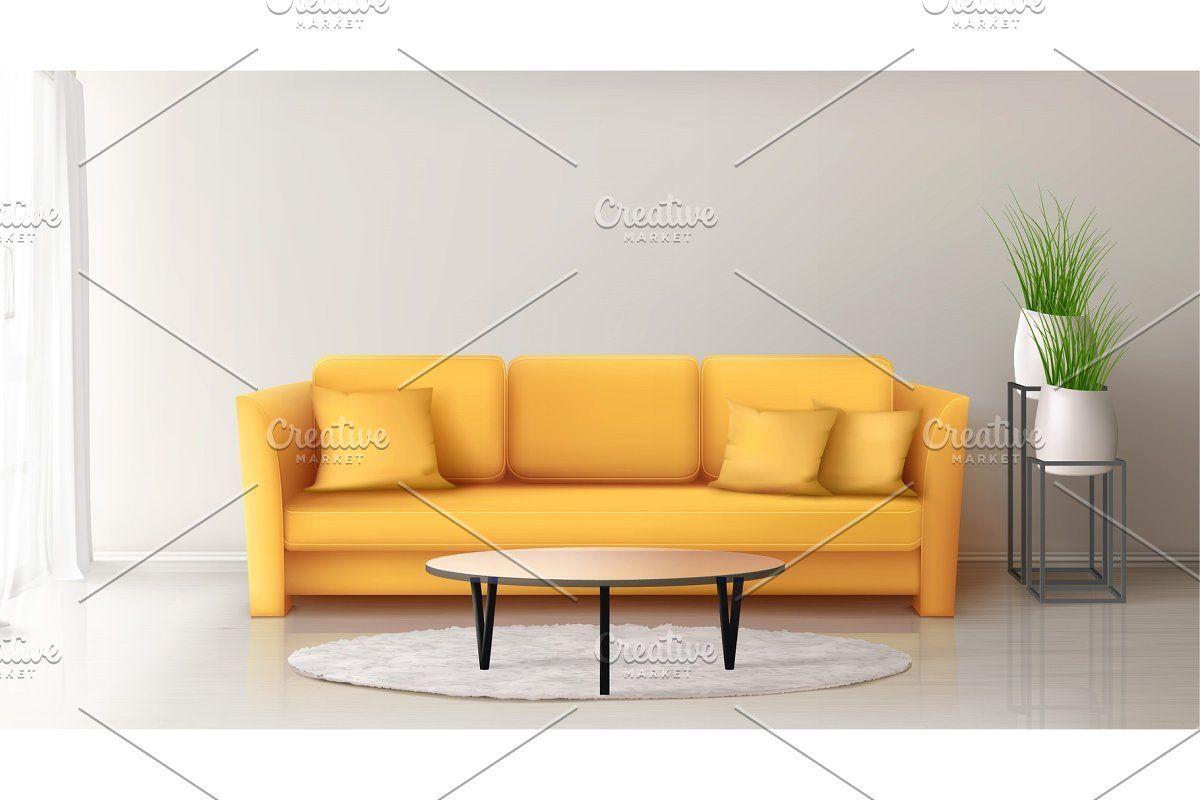 Modern Interior With Yellow Sofa In 2020 Yellow Sofa Sofa