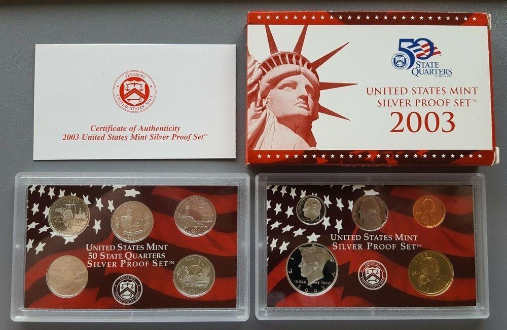 Five Coins-No Box 2013 S 90/% SILVER Proof Quarter Set COA