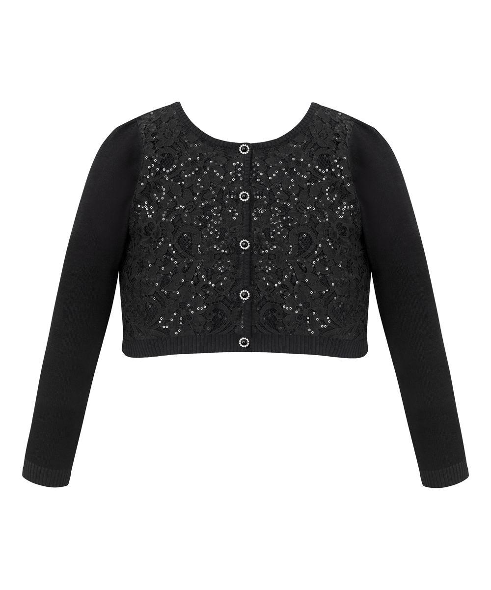 Black Sequin Rhinestone Sweater Cardigan - Toddler & Girls | Products